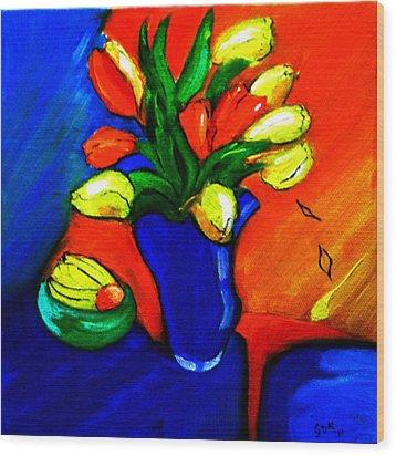 Tulips On My Table Wood Print