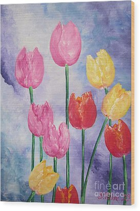 Wood Print featuring the painting Tulips - Red-yellow-pink by Sigrid Tune