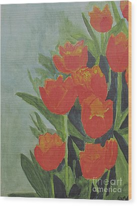Wood Print featuring the painting Tulips by Sandy McIntire
