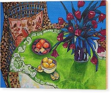 Tulips Sea Side Wood Print by Patti Schermerhorn