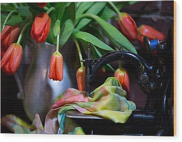 Wood Print featuring the photograph Tulips by Sharon Jones