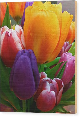 Wood Print featuring the photograph Tulips Smiling by Marie Hicks