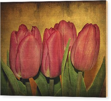 Tulips Standing Wood Print by Cathie Tyler