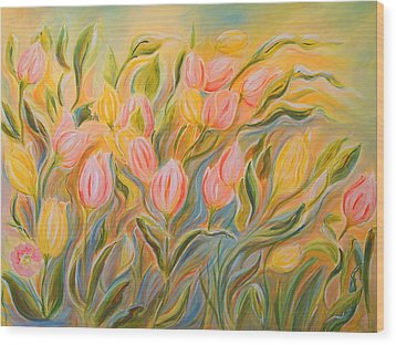 Tulips Wood Print by Theresa Marie Johnson