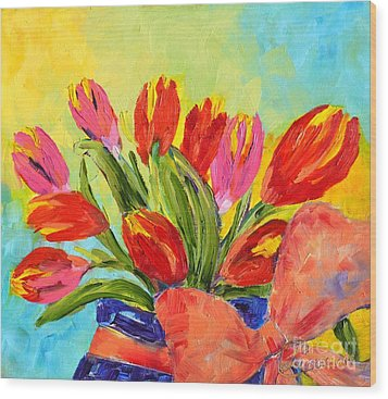 Tulips Tied Up Wood Print