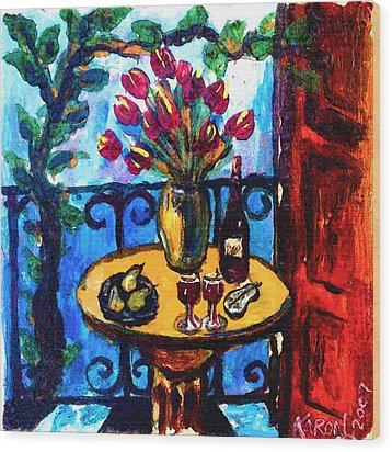 Tulips Wine And Pears Wood Print by Karon Melillo DeVega