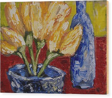 Tulips With Blue Bottle Wood Print by Windi Rosson