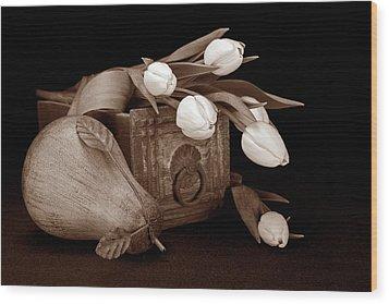 Tulips With Pear II Wood Print by Tom Mc Nemar