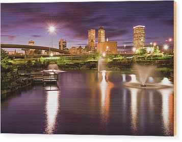 Tulsa Lights - Centennial Park View Wood Print by Gregory Ballos