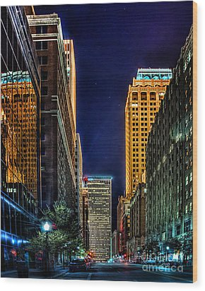 Tulsa Nightlife Wood Print
