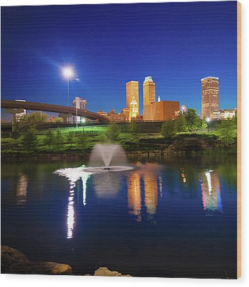 Wood Print featuring the photograph Tulsa Oklahoma City Skyline In Midnight Blue by Gregory Ballos
