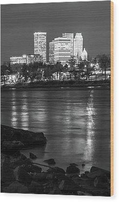 Wood Print featuring the photograph Tulsa Oklahoma Skyline Black And White River Reflections by Gregory Ballos