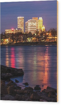 Wood Print featuring the photograph Tulsa Oklahoma Skyline Colorful River Reflections by Gregory Ballos