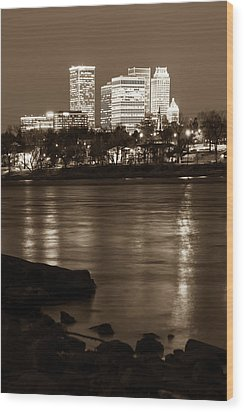 Wood Print featuring the photograph Tulsa Oklahoma Skyline Sepia River Reflections by Gregory Ballos