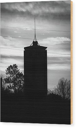 Tulsa Oklahoma University Tower Silhouette - Black And White Wood Print