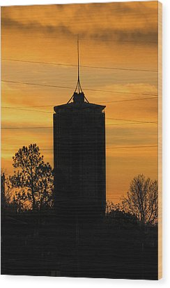 Tulsa Oklahoma University Tower Silhouette - Orange Sky Wood Print