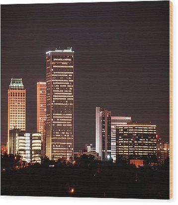 Wood Print featuring the photograph Tulsa Skyline Above The Trees 1x1 by Gregory Ballos