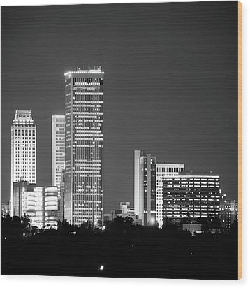 Wood Print featuring the photograph Tulsa Skyline Above The Trees Black And White 1x1 by Gregory Ballos