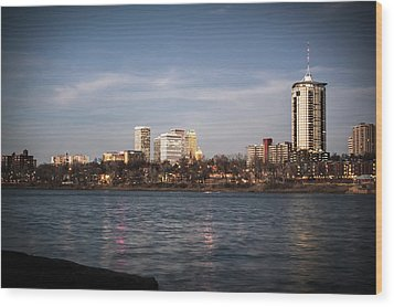 Wood Print featuring the photograph Tulsa Skyline And Arkansas River - Vignette by Gregory Ballos