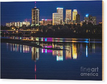 Tulsa Skyline At Twilight Wood Print