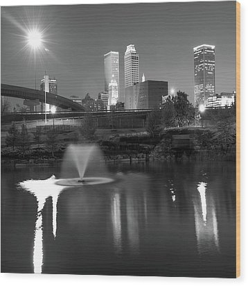 Wood Print featuring the photograph Tulsa Skyline On The Water 1x1 - Black And White by Gregory Ballos