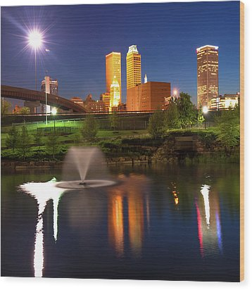 Wood Print featuring the photograph Tulsa Skyline On The Water 1x1 - Color by Gregory Ballos