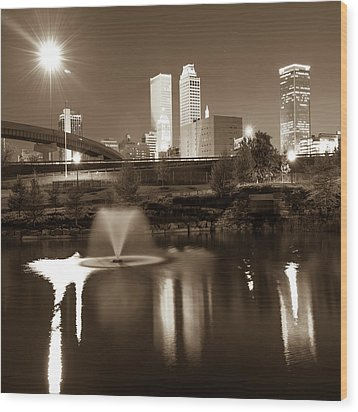 Wood Print featuring the photograph Tulsa Skyline On The Water 1x1 - Sepia by Gregory Ballos