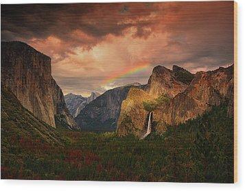 Tunnel View Rainbow Wood Print