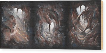 Wood Print featuring the painting Tunnel Vision - Triptych by Joe Burgess