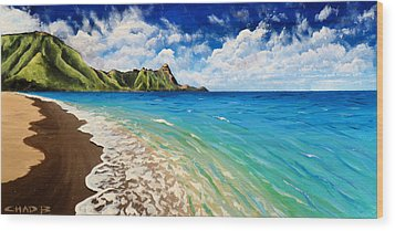 Wood Print featuring the painting Tunnels Beach by Chad Berglund