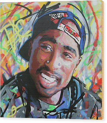Wood Print featuring the painting Tupac Portrait by Richard Day
