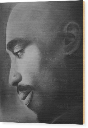Tupac Rose Wood Print by Adrian Pickett