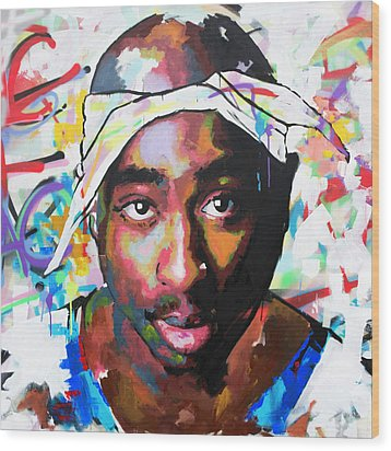 Wood Print featuring the painting Tupac Shakur II by Richard Day