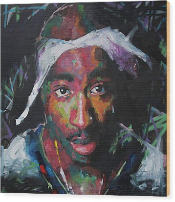 Wood Print featuring the painting Tupac Shakur by Richard Day
