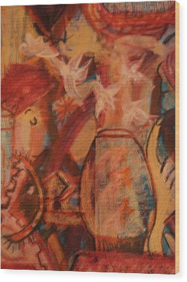 Turbanned Man With Goldfish Bowl Abstract Wood Print by Anne-Elizabeth Whiteway