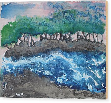 Turbulent Waters Wood Print by Antonio Romero