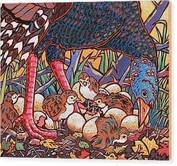 Turkeys Wood Print