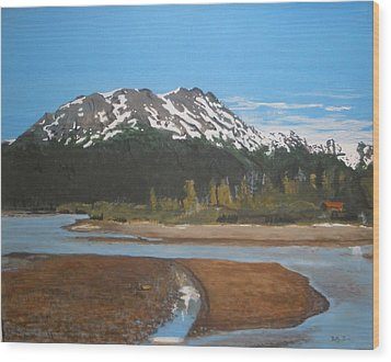 Wood Print featuring the painting Turnagain Arm Alaska by Betty-Anne McDonald