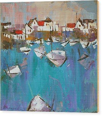 Wood Print featuring the painting Turquoise by Anastasija Kraineva