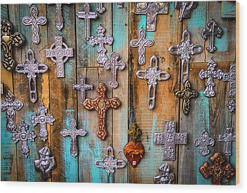 Turquoise And Crosses Wood Print