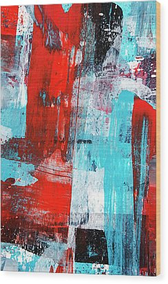 Wood Print featuring the painting Turquoise And Red Abstract Painting by Christina Rollo