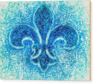 Turquoise Bleu Fleur De Lys Wood Print