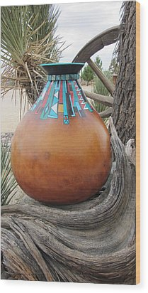 Turquoise Design Wood Print by Barbara Prestridge