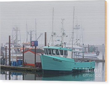 Turquoise Fishing Boat Wood Print by Jerry Fornarotto