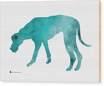 Turquoise Great Dane Watercolor Art Print Paitning Wood Print by Joanna Szmerdt