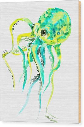 Turquoise Green Octopus Wood Print