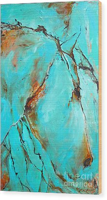 Wood Print featuring the painting Turquoise Impression by Cher Devereaux