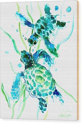 Turquoise Indigo Sea Turtles Wood Print by Suren Nersisyan