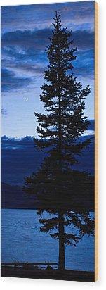 Turquoise Lake Twilight Wood Print