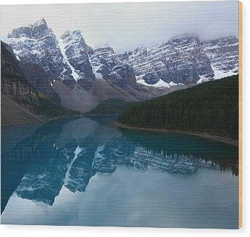 Turquoise Reflection At Moraine Lake Wood Print by Jetson Nguyen